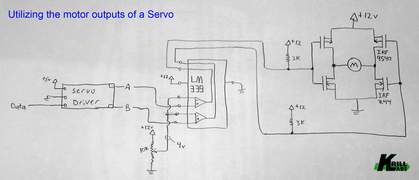 Utilizing The Motor Outputs Of A Servo Lets Make Robots Robotshop Fet H Bridge Circuit Diagram Example Schematic